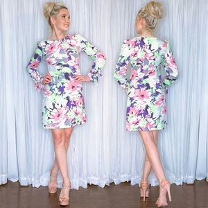 White Pastel Floral Dress with Long Sleeves